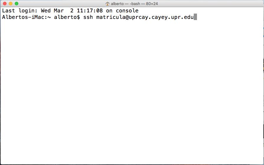 Imagen representativa de configuración para entrar a la área de matrícula de UPR Cayey usando el terminal de Mac Os
