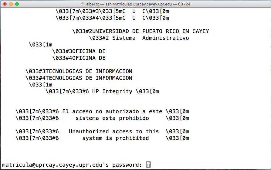 Imagen representativa de configuración para entrar a la área de matrícula de UPR Cayey usando el terminal de Mac Os tercera pantalla