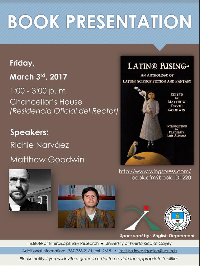 Imagen representativa a promoción de la presentación del libro Latin@ Rising