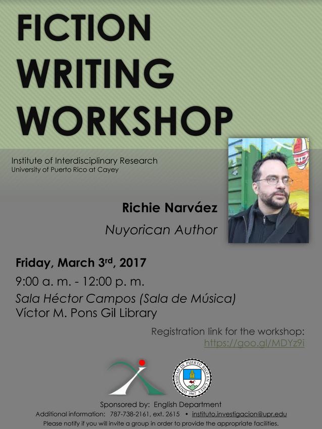 Imagen representativa a promoción actividad Fiction Writing Workshop con Richie Narváez(full Promo)