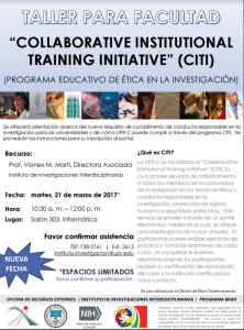 "Promoción del Taller: ""COLLABORATIVE INSTITUTIONAL TRAINING INITIATIVE"" (CITI)"