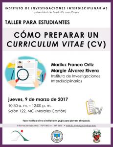 Imagen promoción al Taller Cómo Preparar un Curriculum Vitae