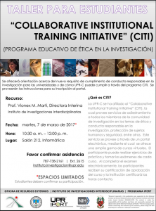 Promoción a taller para estudiantes: Collaboratie Institutional Training Initiative