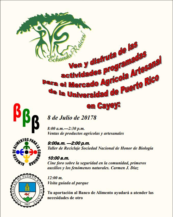 imagen del itinerario para el 8 de julio 2017 Mercado Agrícola UPR Cayey