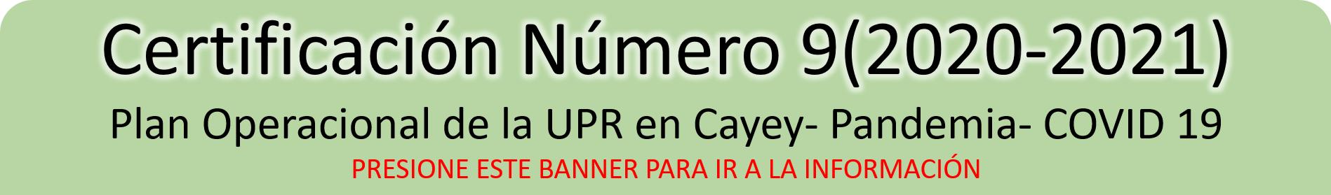 Imagen del Banner Certificación Número 9 (2020 - 2021)