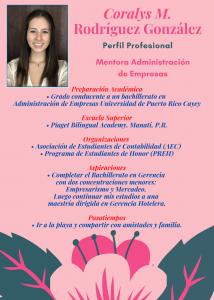 Imagen de Diseño Perfil Profesional Coralys Rodríguez Mentora CAETV UPR Cayey Agosto 2020