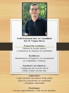 Imagen de Diseño Perfil Profesional Eric Vázquez Tutor Contabilidad CAETV UPR Cayey Agosto 2020
