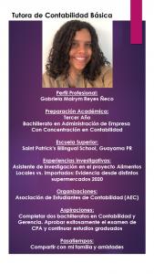 Imagen de Diseño Perfil Profesional Gabriela Reyes Tutora Contabilidad CAETV UPR Cayey Agosto 2020
