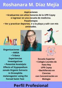 Imagen de Diseño Perfil Profesional Roshanara Díaz Tutora Química CAETV UPR Cayey Septiembre 2020