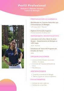Imagen de Diseño Perfil Profesional Victoria Blaiotta Tutora Biología CAETV UPR Cayey Agosto 2020