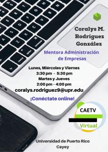 Imagen del Horario Coralys Rodríguez Mentora Adm Empresas CAETV UPR Cayey Septiembre 2020