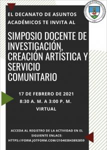 Imagen promoción de actividad Simposio Docente de Investigación, Creación Artística y Servicio Comunitario