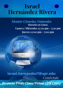 Imagen publicidad-israel-hernandez-riveraz-mentor-ciencias-naturales-caetv-virtual-upr-cayey-enero-2021