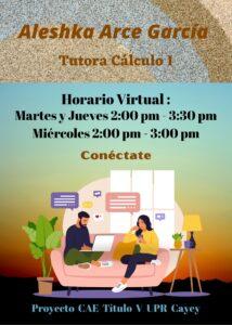 Imagen de Aleshka Arce García Tutora Cálculo I CAETV Virtual UPR Cayey Verano 2021