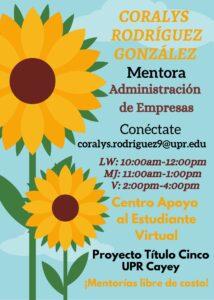 Imagen de Coralys Rodríguez González Mentora Adm. Empresas CAETV Virtual UPR Cayey Verano 2021
