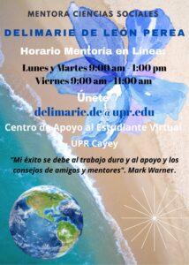 Imagen Delimarie De León Perea Mentora Ciencias Sociales CAETV Virtual UPR Cayey Verano 2021