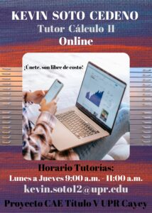 Imagen Kevin Soto Cedeño Tutor Cálculo II CAETV Virtual UPR Cayey Verano 2021