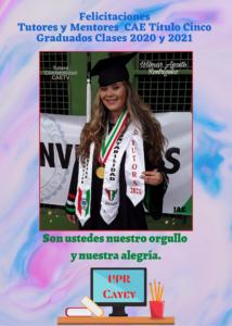 Imagen Postal Felicitación Tutores y Mentores CAE Clases 2020 y 2021 UPR Cayey